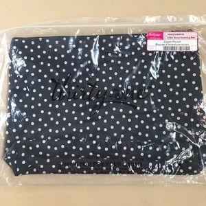NWT Thirty-One Navy Polka Dot Zipper Pouch